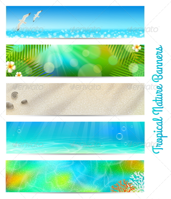 GraphicRiver Banners with Tropical Natures 4948109