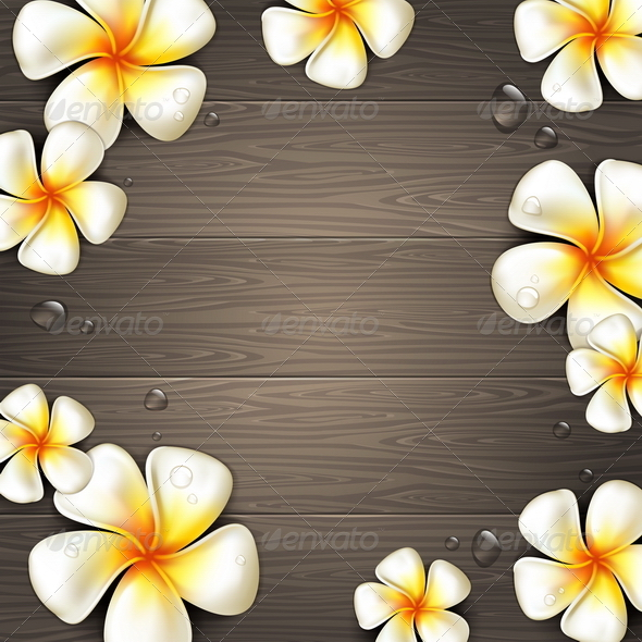 GraphicRiver Tropical Flowers on a Wooden Background 4948185
