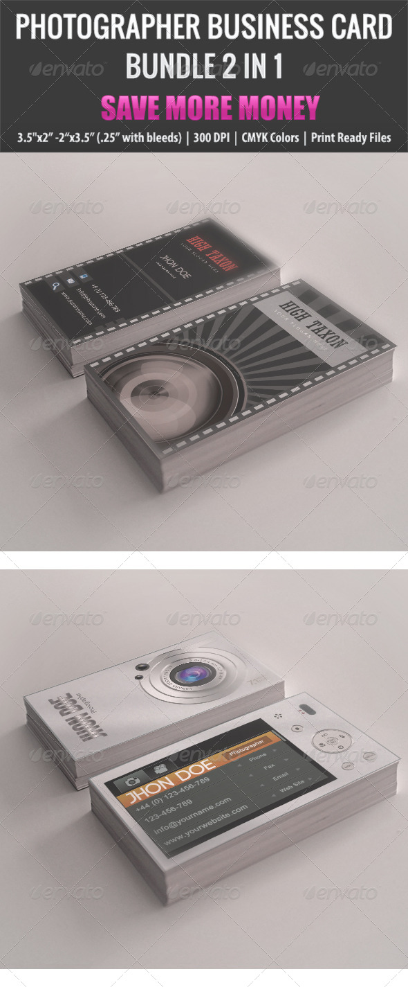 GraphicRiver Photographer Business Card Bundle 2 in 1 4948232
