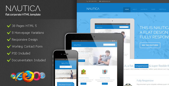 Nautica - Flat Corporate HTML Template (Corporate)