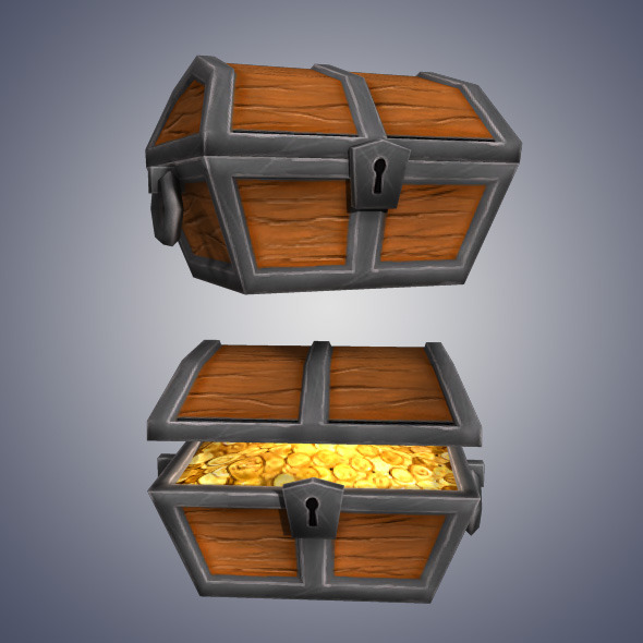 3DOcean Low Poly Gold Chest 4948419