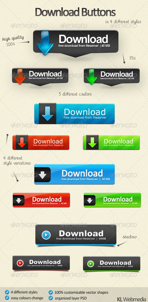 GraphicRiver Download Buttons Pack 510918
