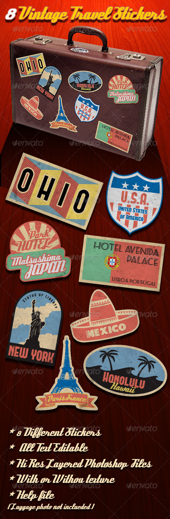 Vintage Travel Stickers - Badges & Stickers Web Elements