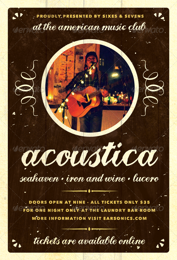 GraphicRiver Acoustica Acoustic Unplugged Flyer Template 4949678