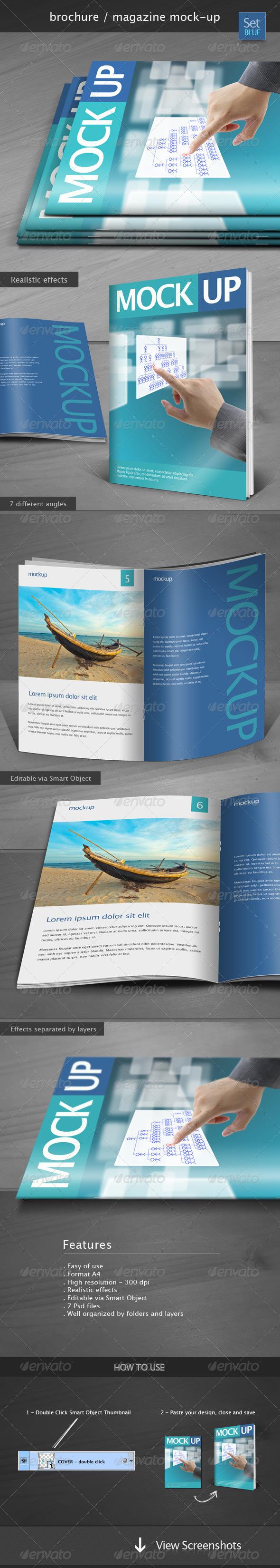 GraphicRiver Brochure Magazine Mock-up Set Blue 4949783
