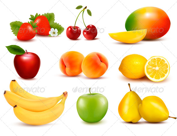GraphicRiver Big Group of Different Fruit Vector 4950659