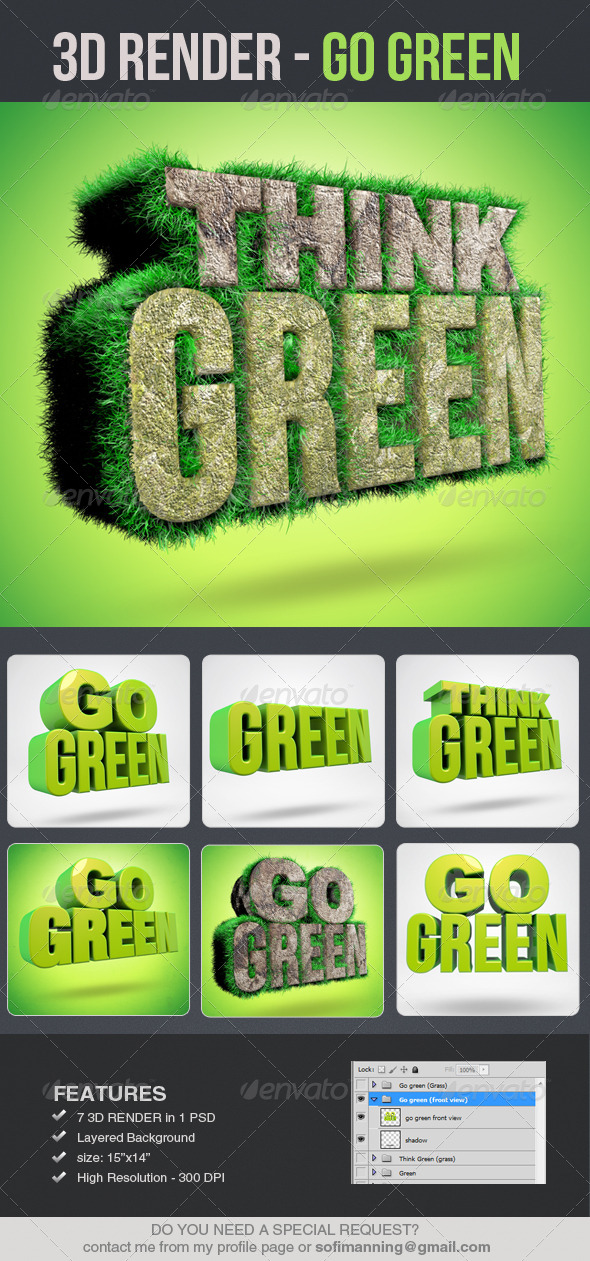 GraphicRiver Go Green 3D Renders 4950667