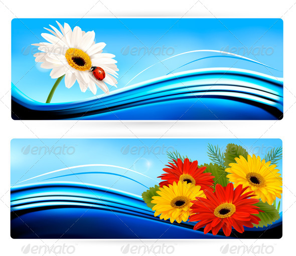 GraphicRiver Nature Banners with Color Flowers Vector 4954412