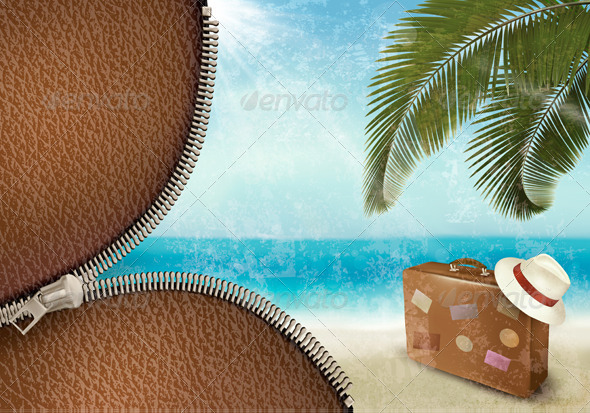 GraphicRiver Vintage Seaside Background with Suitcase 4954423