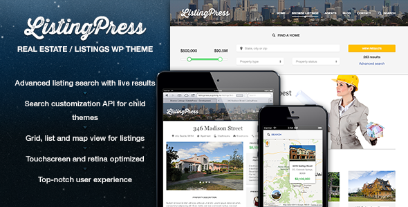 ThemeForest ListingPress Real Estate & Listings WP Theme 4840356