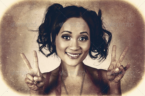 Vintage 50s asian woman showing peace sign on hand - Stock Photo - Images