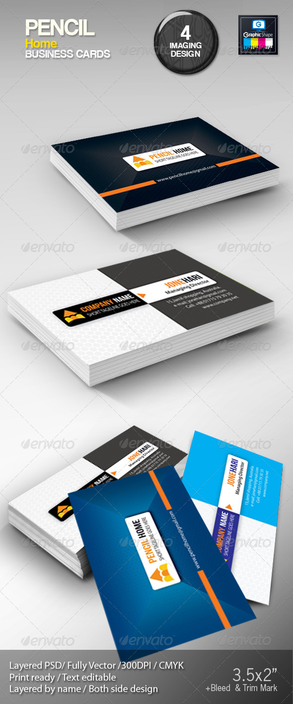 GraphicRiver Pencil Home Business Cards 4956570