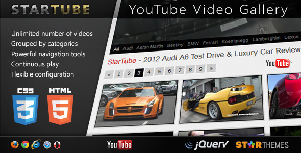 CodeCanyon StarTube YouTube Video Gallery Powered by jQuery 4929623