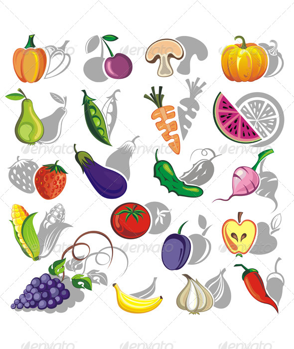 GraphicRiver Fruits and Vegetables Vector Collection 4957490
