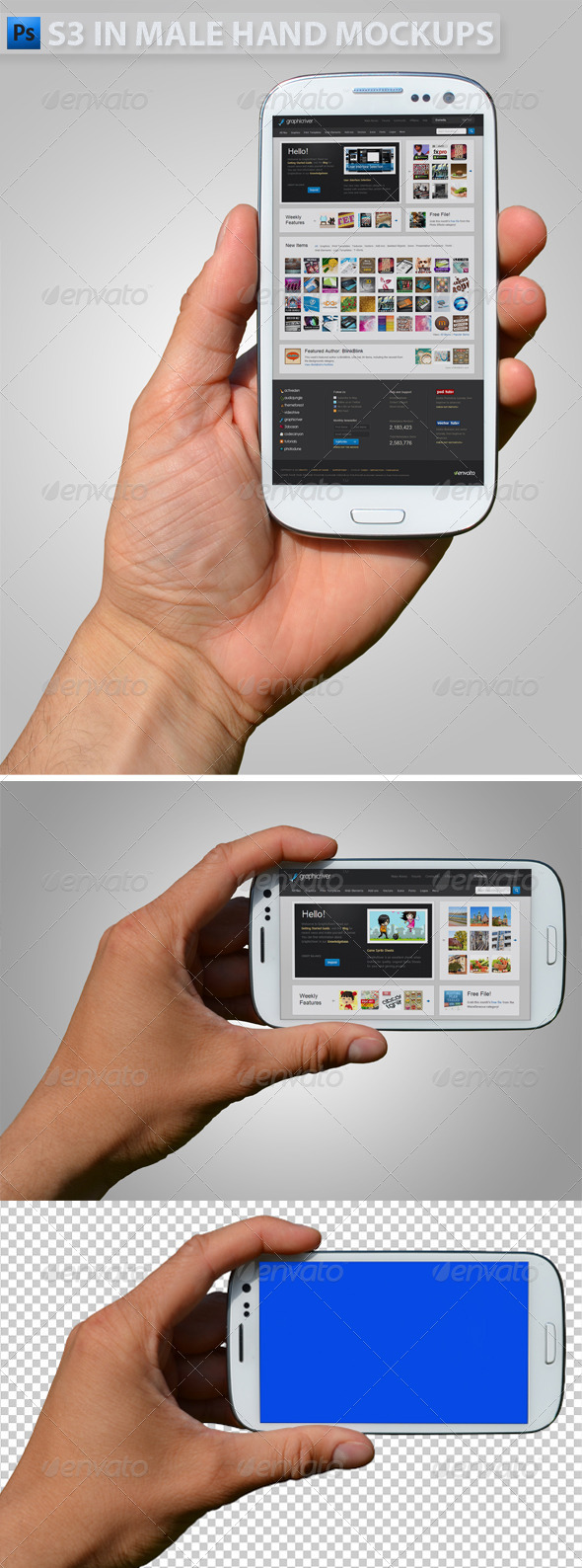 GraphicRiver S3 in Hand Mock-ups 4958536