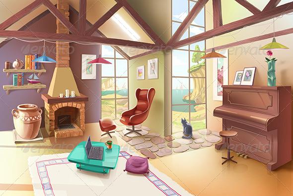 Light Living Room Interior Graphicriver