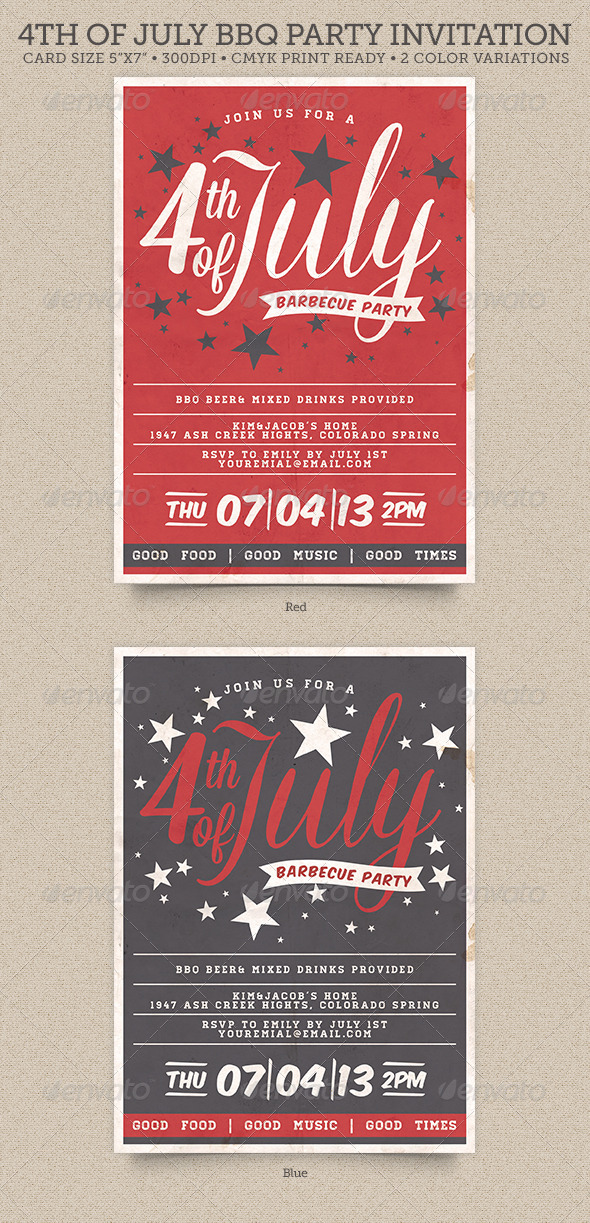 GraphicRiver 4th of July BBQ Party Invitation 4959241