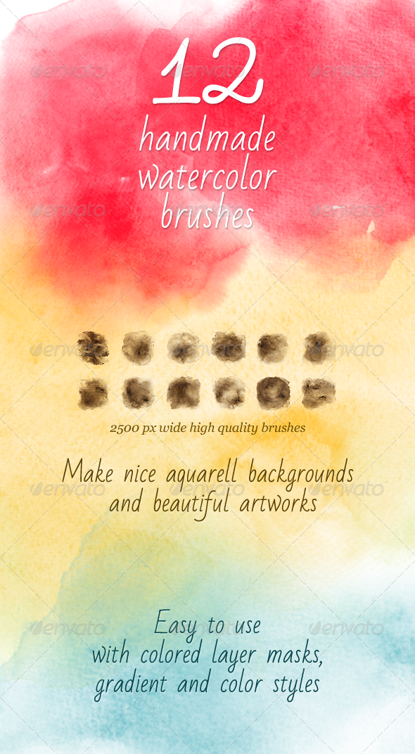 GraphicRiver 12 Aquarelle Handmade Brushes 4959480