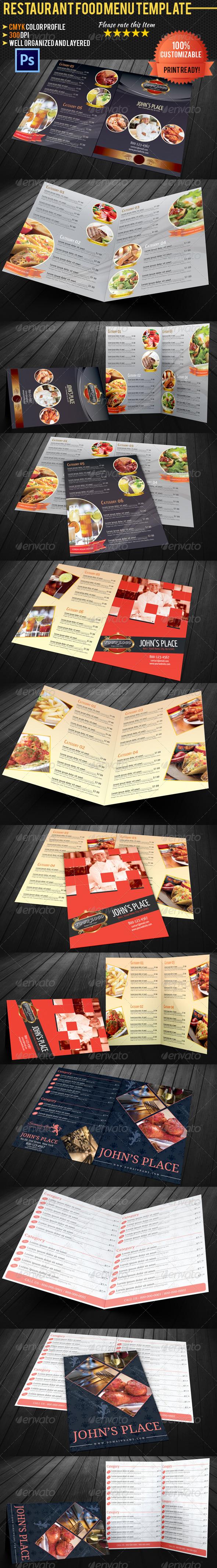 GraphicRiver Bi-fold Restaurant Food Menu Template Bundle 4960528