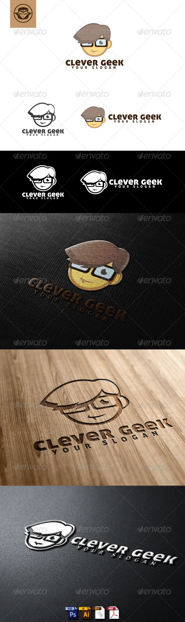 GraphicRiver Clever Geek Logo Template 4960665