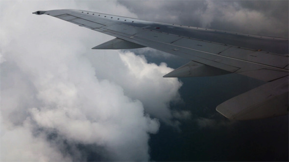 View From Window Of a Jet Plane Wing