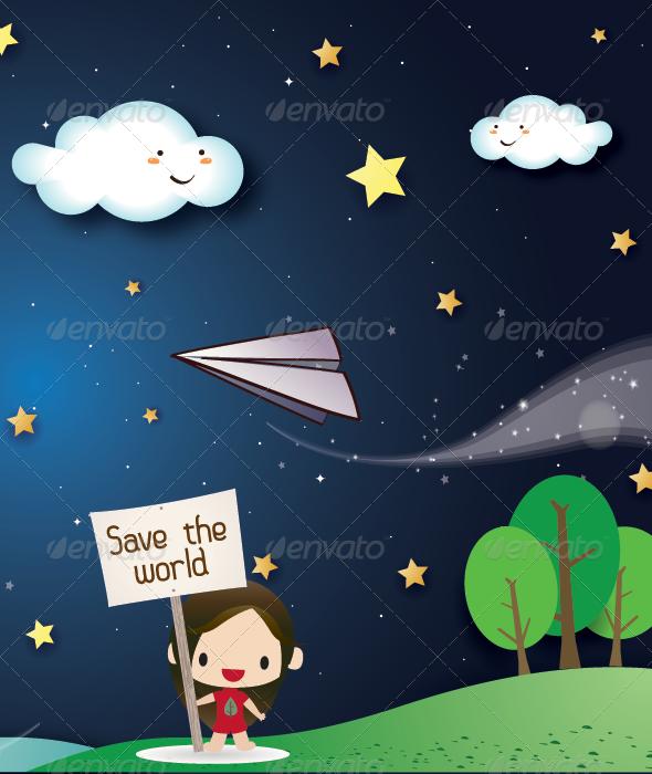 GraphicRiver Landscape at night for Kids 4943786