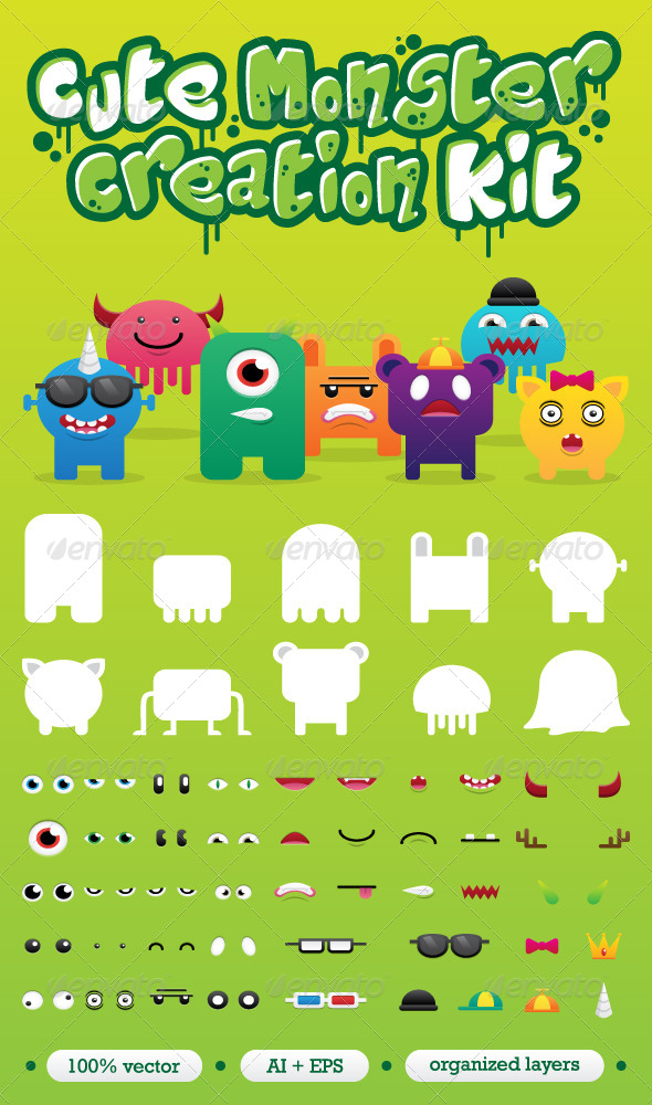 GraphicRiver Monster Creation Set 4961933