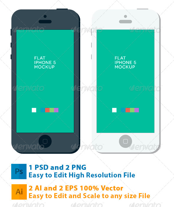 Phone 5 Flat Mockup - Mobile Displays