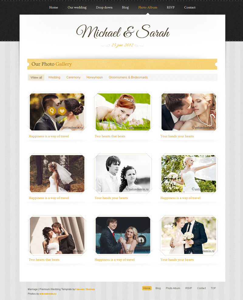 Marriage - Responsive Wedding Wordpress Theme - ��photo gallery page design