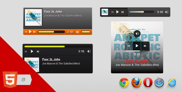Html5 music player html css for Html5 video player template