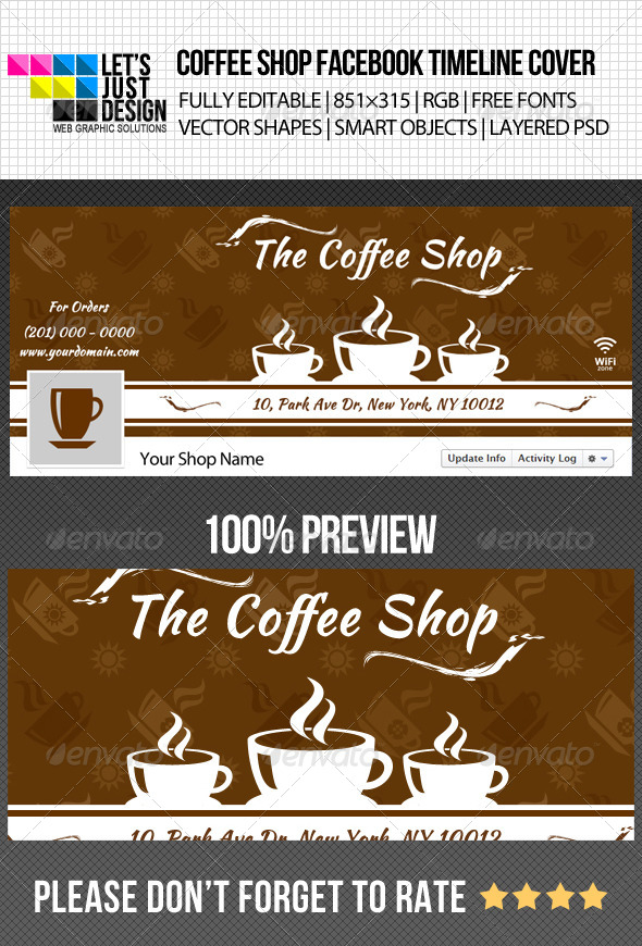 GraphicRiver Simple Coffee Shop Facebook Timeline Cover 4963127