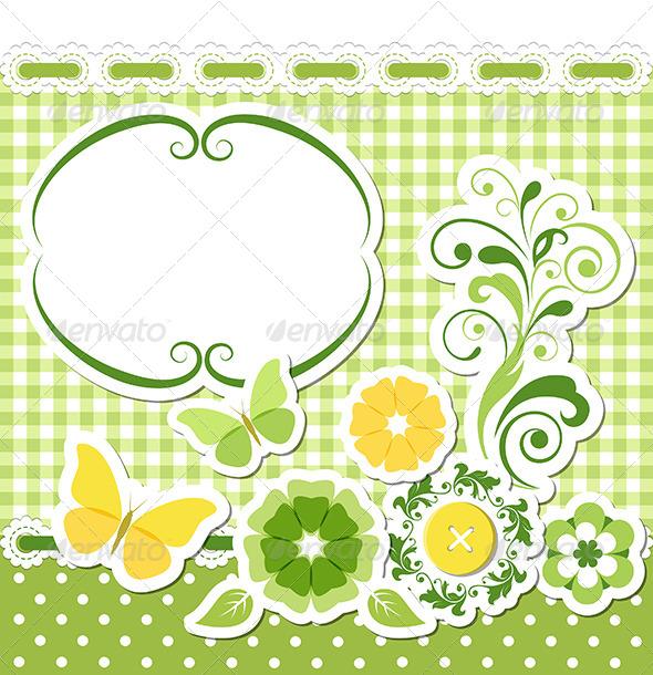 GraphicRiver Floral Scrapbook Green Set 4965594