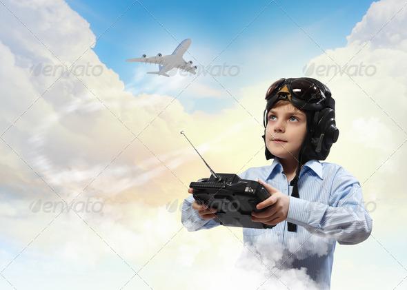 Little boy in pilot's hat - Stock Photo - Images
