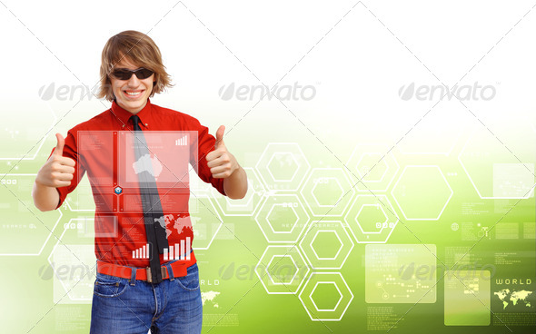Happy smiling young man dancing - Stock Photo - Images