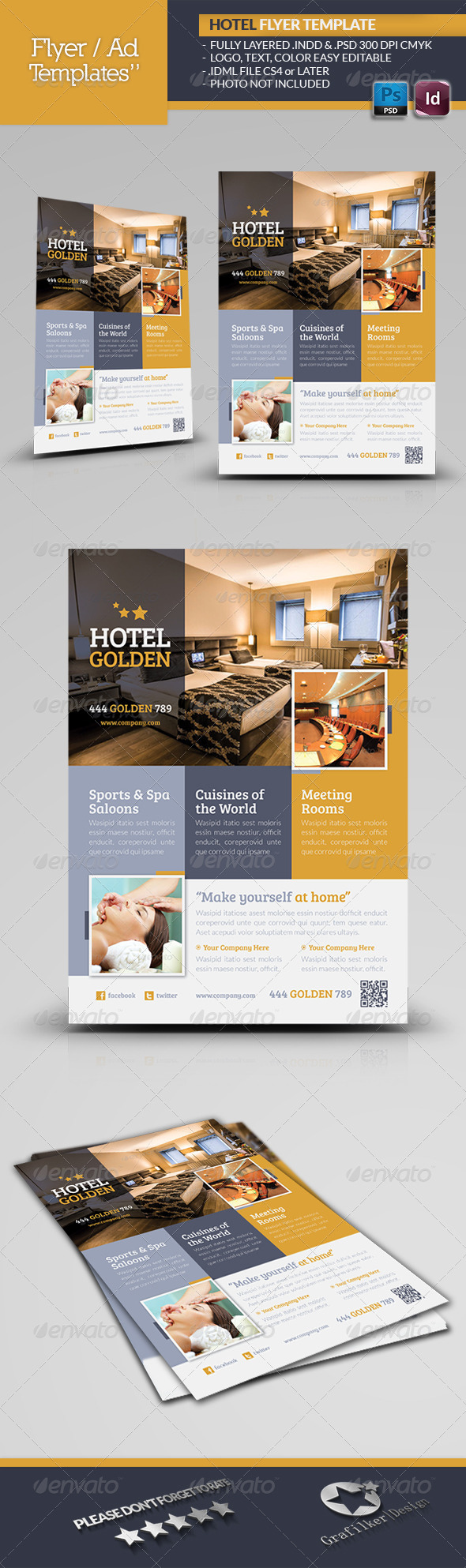 GraphicRiver Hotel Golden Flyer Template 4965721