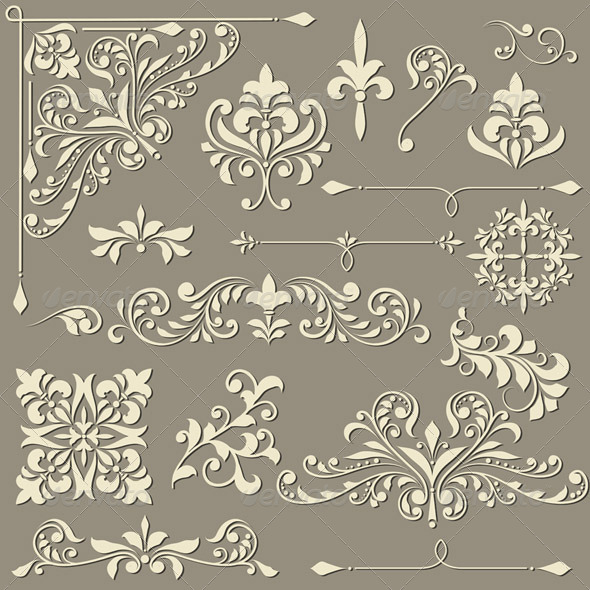 GraphicRiver Vector Vintage Floral Design Elements 4967177