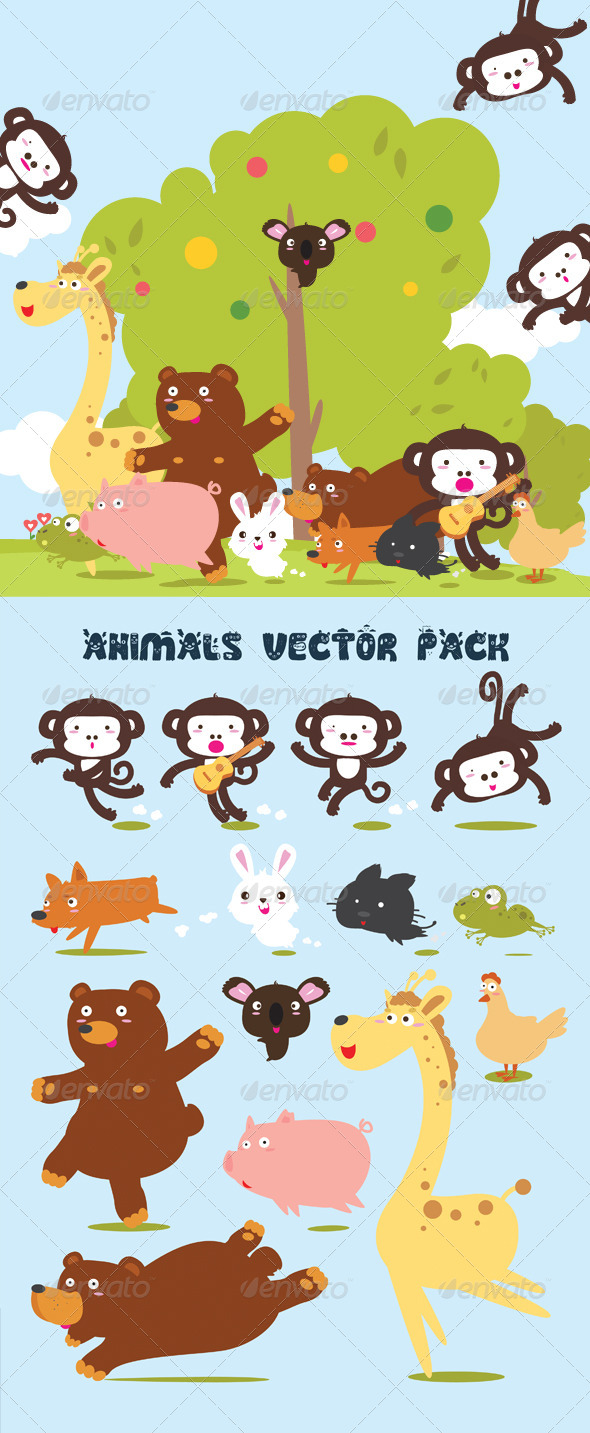 GraphicRiver Animals Design Vector Pack 4967596