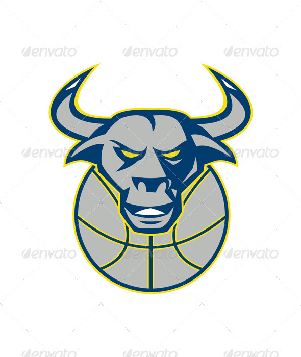 GraphicRiver Texas Longhorn Bull Head Basketball 4967616