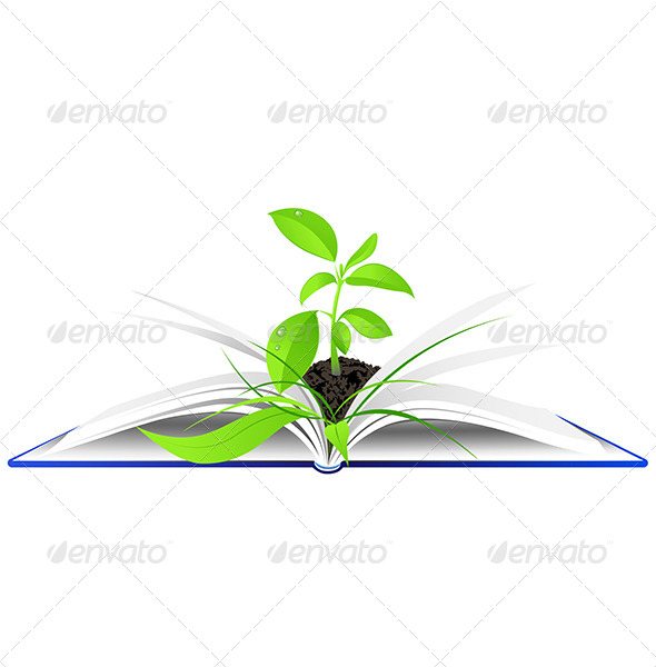 GraphicRiver Open Book with Young Green Plant 4967717