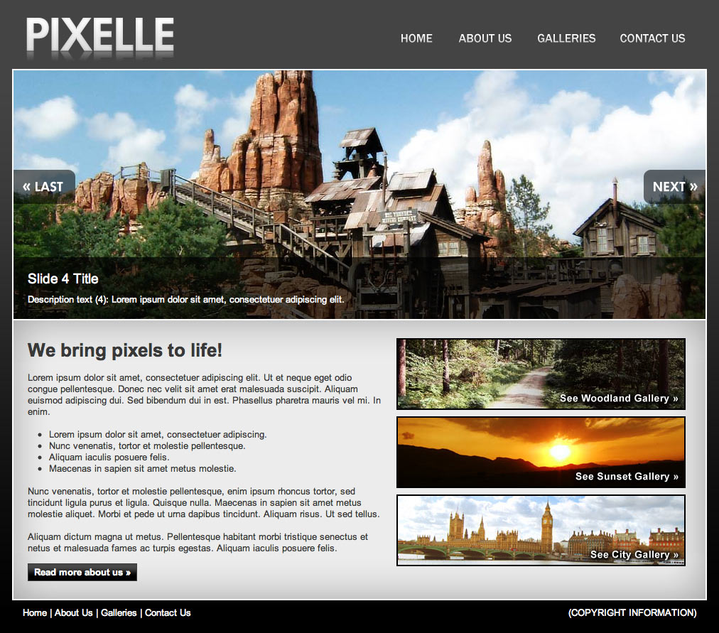 PIXELLE - This is the homepage. The slideshow degrades gracefully and can have an unlimited amount of slides.