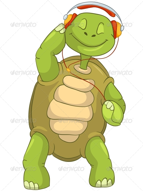 GraphicRiver Turtle Listening to Music 4968613