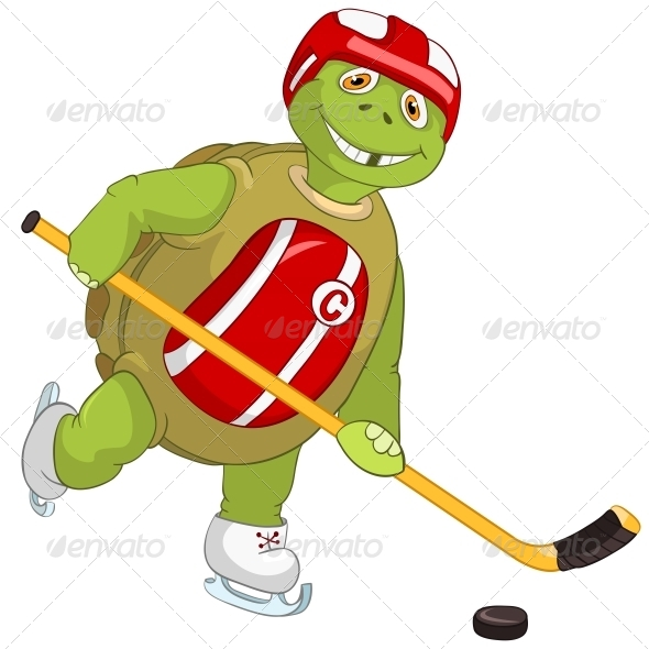 GraphicRiver Turtle Hockey Player 4968653