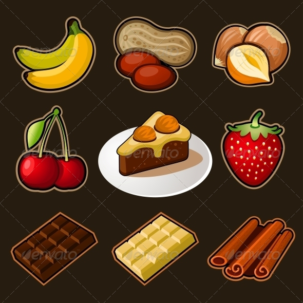 Fruit and Chocolate Icons Set