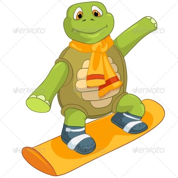 GraphicRiver Turtle Snowboarding 4968674