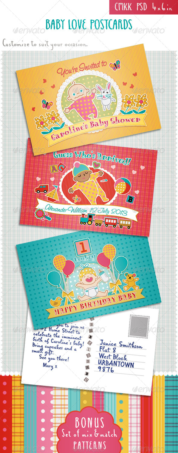 GraphicRiver Baby Shower Birthday Announcement Cards 4968801