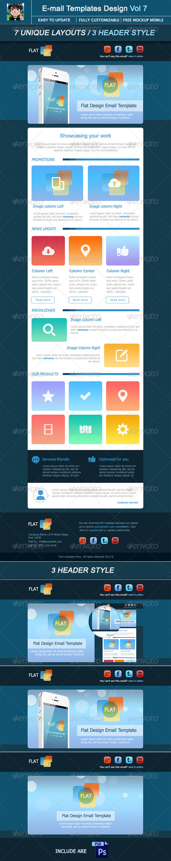 Flat : E-mail Template Design Vol 7 - E-newsletters Web Elements