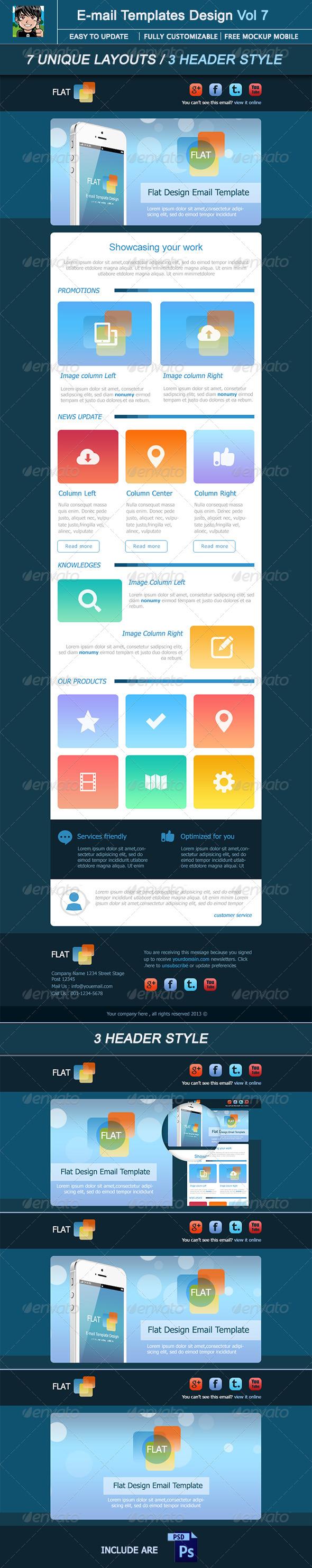 GraphicRiver Flat E-mail Template Design Vol 7 4968908