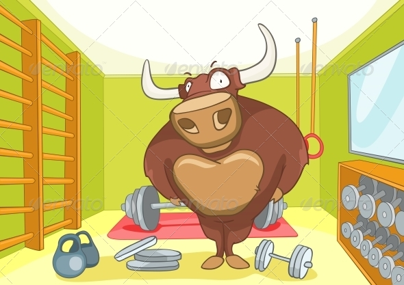 GraphicRiver Cartoon Character Bull 4969166