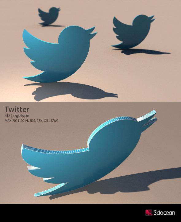Twitter 3D Logotype - 3DOcean Item for Sale