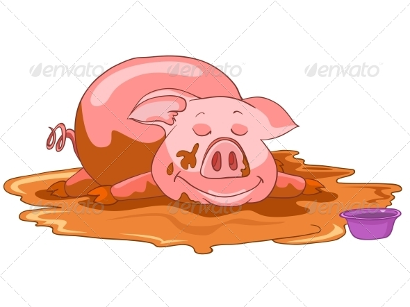 GraphicRiver Cartoon Character Pig 4970110